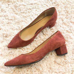 Calvin Klein Faux Suede Dusty Red Block Heels NWOT